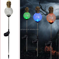 Skull with glass ball solar light for Halloween decoration