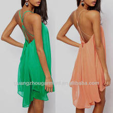 dress 2014 new green fashion chiffon polyester backless necktie sexy woman evening club ladies dress OEM factory