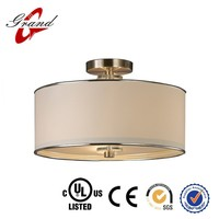 Replaceable incandescent light fixture round fabric indoor foyer ceiling light fixture with glass diffuser