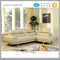 clean PU leather/ fabric sectional units sofa with lift up headrest, LF-367