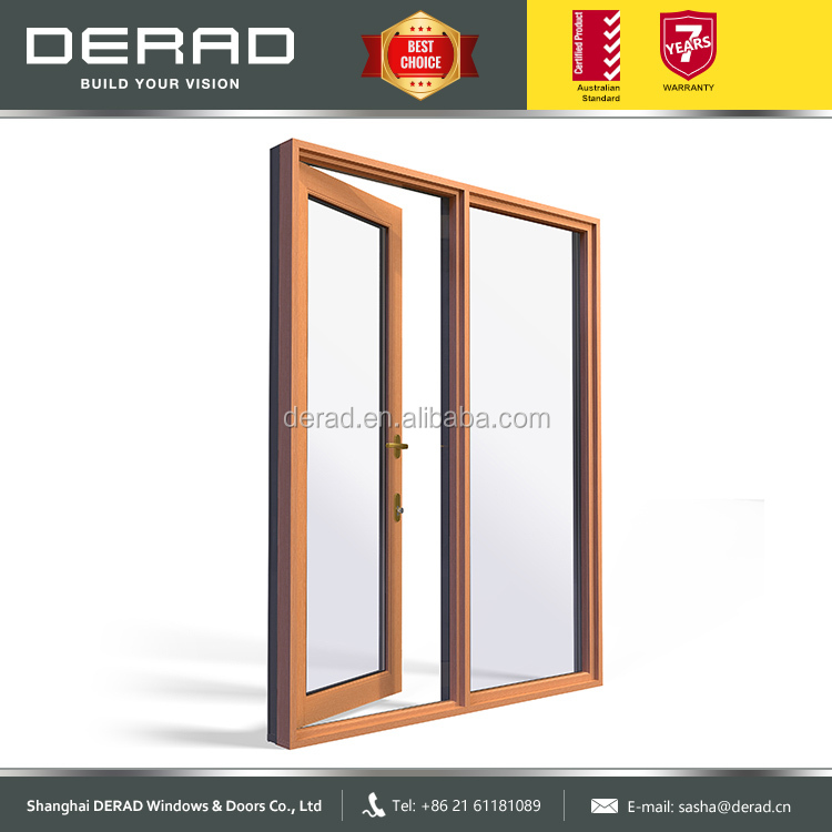 China Wholesale Double Glazed Aluminium Clad Wood Casement Door