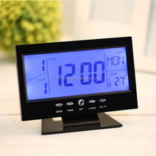Voice Control Back-light LCD Decor Desktop Table Alarm Clock / Sound Sensor Weather Monitor Calendar With Timer Temperature