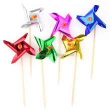 Party supplies windmill decoration Sticks Metallic Pinwheel Party Picks