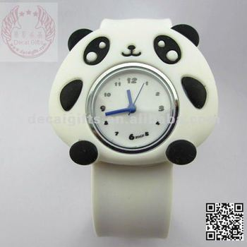 Panda cartoon image silicone slap watch for kids