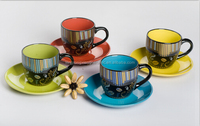 Metallic decal style ceramic coffee cups & saucers