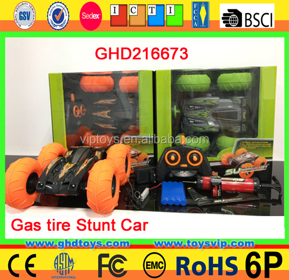 4CH gas tires acrobatic flips action bouncing orange green color stunt RC car