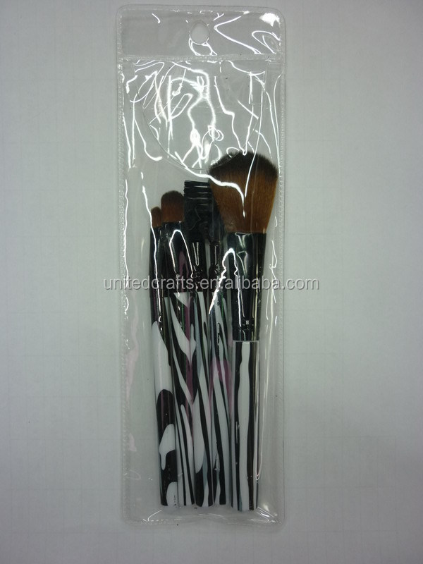 promotional make up kit 5 pcs makeup brush set with pvc case