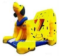 animal dry slide, yellow dalmatians air slide, giant inflatable dog slide