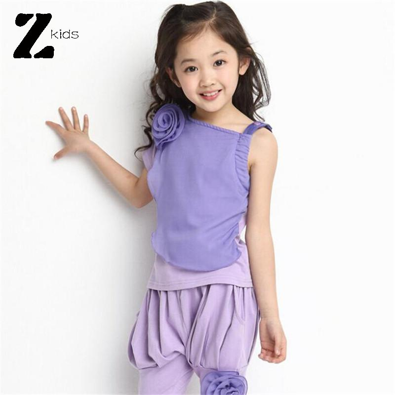 Kids Clothes Girls Summer 2015 Brand Children Clothing Set 3D Flower T Shirt + Chiffon Pants Teenage Sport Suit Set 2 Colors