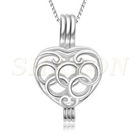 Charming women necklace Jewelry Locket 925 Sterling Silver five rings heart Pearl Cage Pendant