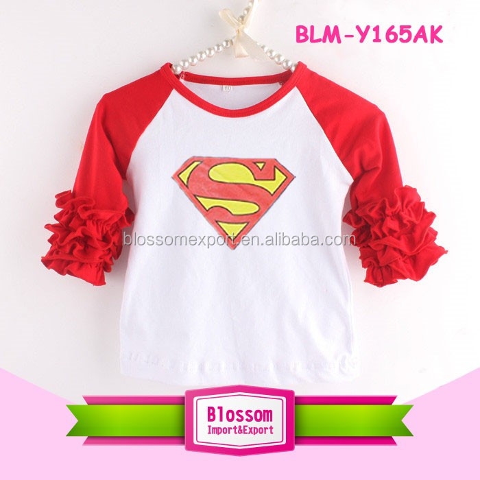 Kids Clothes Children Wholesale Icing Ruffle Shirt Ruffle Raglan 2017 Boutique Cotton Kids Raglan