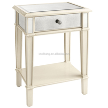 Wholesale french shabby chic white lacquered nightstand with drawer