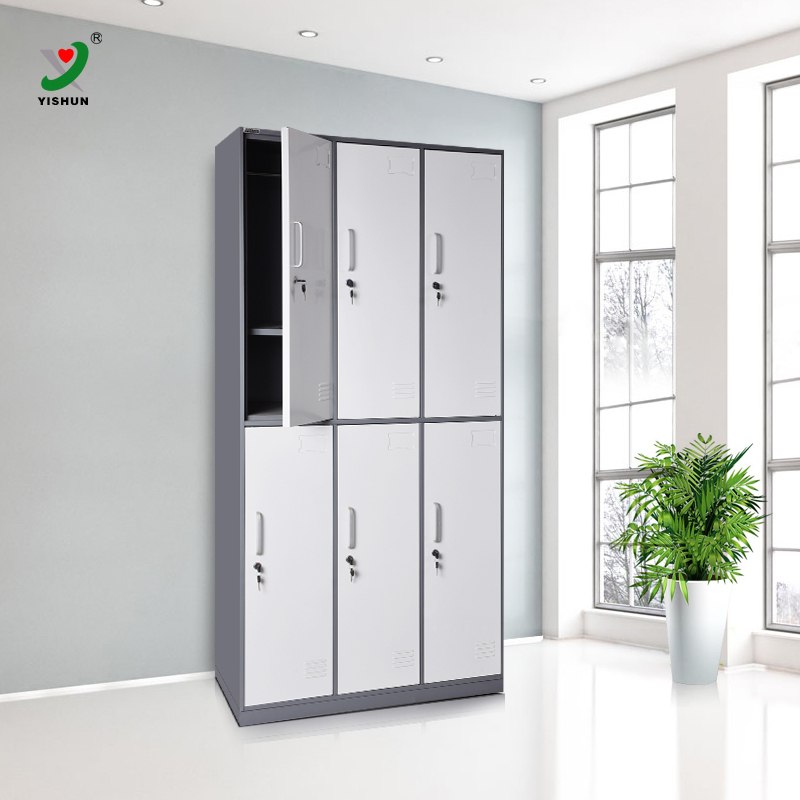 supply cheap metal locker cabinet/6 door clothing steel locker/wardrobe