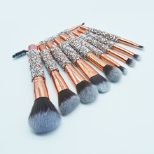Best Selling Tool 10pcs Luxury Glitter Handle Rose Gold Custom Wood Brushes Makeup Professional With PU Bag