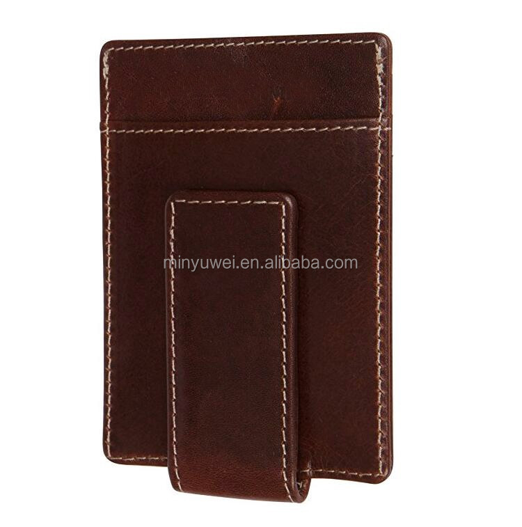 Strong Leather Covered Magnet Handcrafted High Quality rfid blocking Money Clip Minimalist Front Pocket