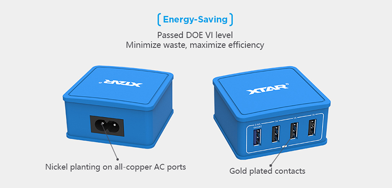 XTAR  27W 4-Port  Max 2.4A fast charging speed wall adapter USB Charger 4U Blue color