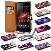 for sony xperia m c1904 c1905 case, wallet printed pu leather flip case for sony xperia m c1904 c1905