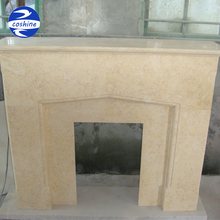 Decorative Indoor Carved Yellow Marble Fireplace Mantels