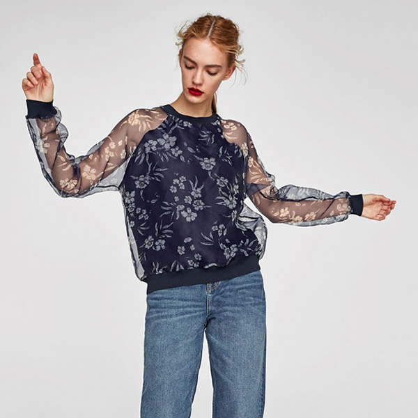 2018 spring new collection long sleeve lady blouse floral printing rib hem chiffon blouse women