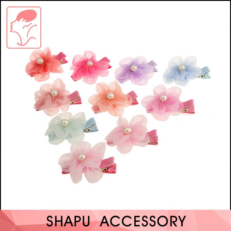 New coming custom design diaphanous flower with bead hair clip hair accessories
