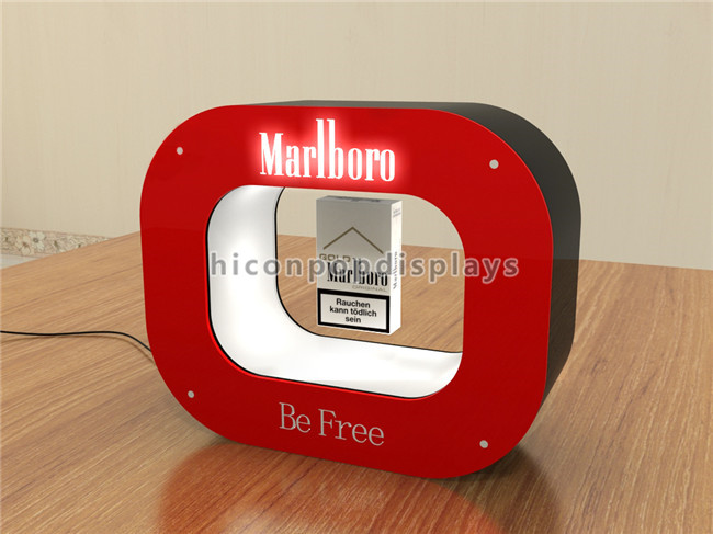 Custom Logo Table Top Acrylic Led Lighting Magnetic Floating Advertising Cigarette Counter Display