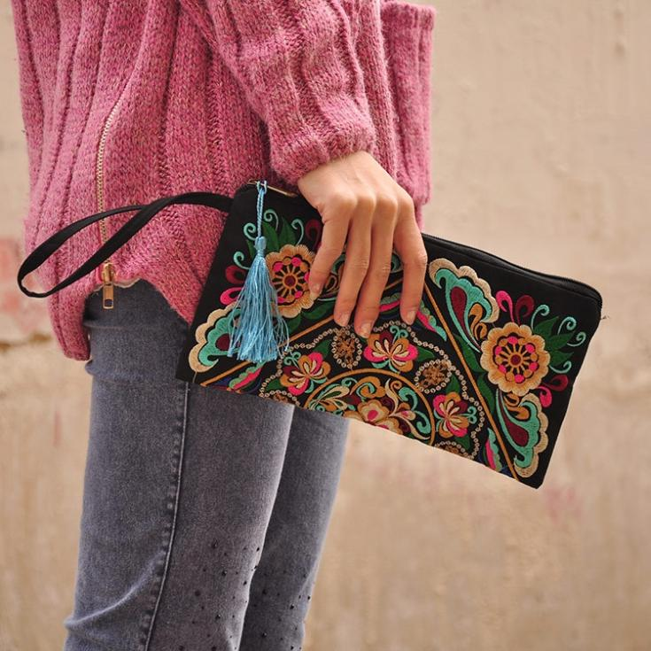 Women Ethnic Retro Butterfly Flower Embroidered Bag Handbag Card Coin Purse
