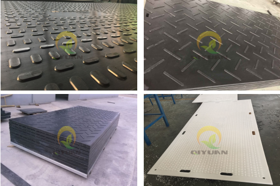 Black recycled UHMWPE temporary construction road mat