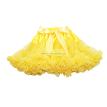 Stage TuTu Skirts Children Puffy Yellow Chiffon Pettiskirts