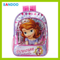 China new pretty product Sofia Princess backpack, lovely polyester kid's school bag for girls