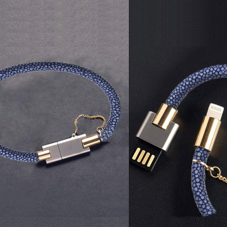 Custom Female Luxury Stingray Leather USB 3.1 Type C Cable Bracelet,Fast Mobile Cell Phone Charge For Iphone Charging Cable USB