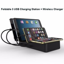 2018 new product for Amazon Qi wireless charger fast charging pad station dock with 3 ports for phones