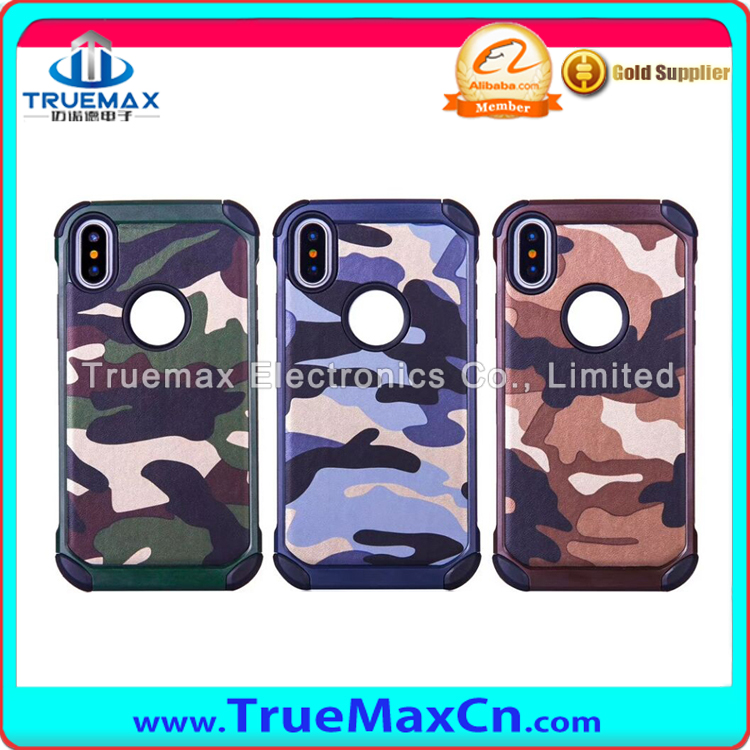 Hot Sale Camouflage Pattern TPU vs PC Mobile Phone Back Cover Case for iPhone X