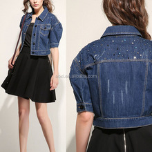 New arrival China supplier wholesale clothing half sleeve fashion Europ women denim jackets