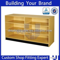 Tailor made top quality modern wooden counter display shelf