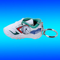 3D PVC soft watch sneaker shoes keychain, mini rubber clock gym sand tennis shoes footwear boots key chain ring holder pendants