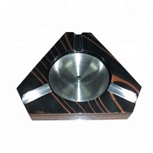 Genesis Metal and Matte Wood Cigar Ashtray with 3 cigar