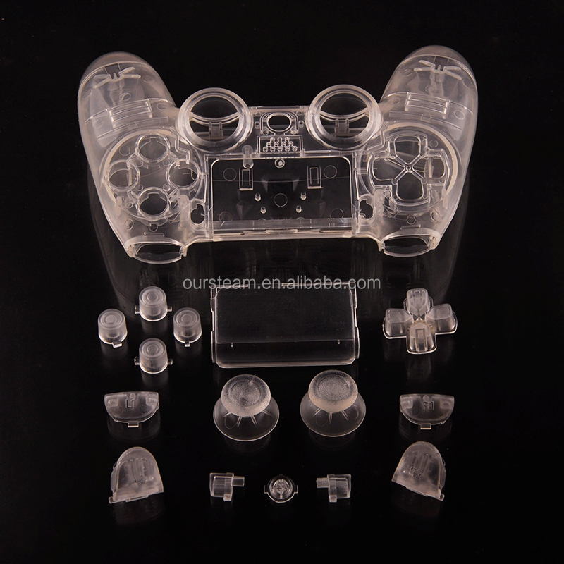 Crystal Transparent Replacement Front and Back Shell for PS4 for Playstation 4 Controller with Button Set
