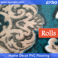 Outdoor patterned commercial use pvc flooring roll for living Room