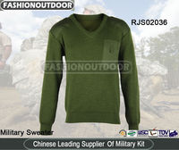 Wool/Acrylic Olive V-Neck Security Sweater/Pullover