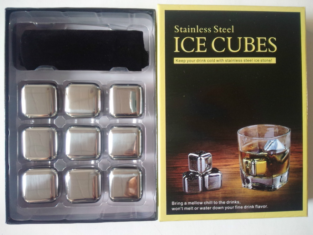2016 hot sale stainless steel ice cube whisky stone chilling stone