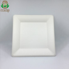 6&quot; disposable packaging sugar cane pulp bagasse Square <strong>plate</strong> compostable tableware bagasse trays tableware cake <strong>plates</strong>