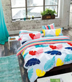 2018 New design feather printed fabric cotton bed sheet sets