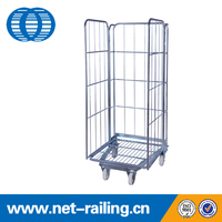 Warehouse wire mesh metal transport roll cage