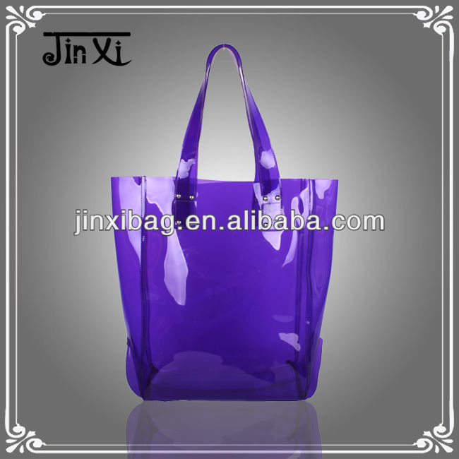 2013 Wholesale purple PVC designer beach bag tote bag