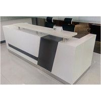 white and black color reception office desk curved shape design BL model 2.7m dimensions reception table desk