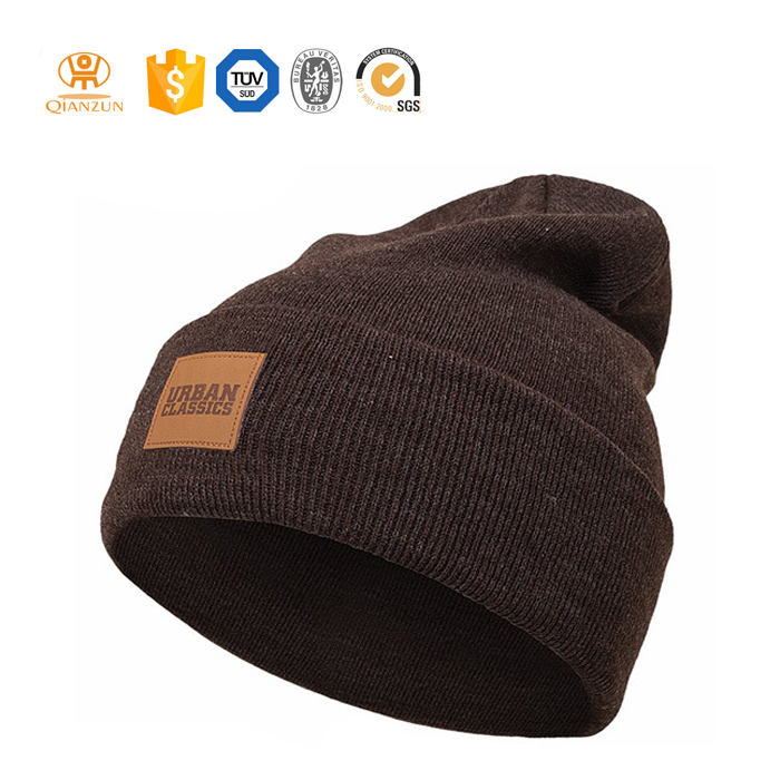 Custom Leather Tags Label Winter Warm Plain Knit Beanie Hat
