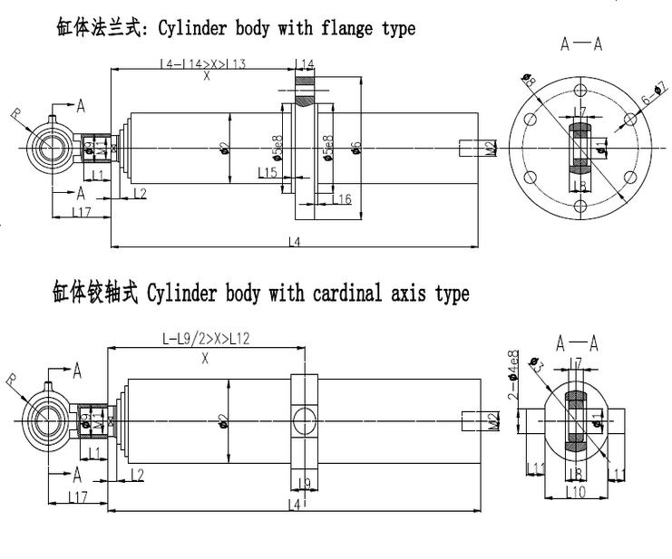 Telescopic hydraulic cylinder ZLP023