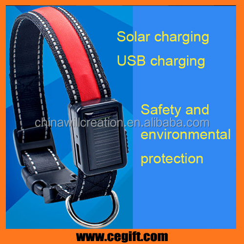 waterproof solar charging dog collar USB charging led dog collar for pet safety