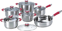 high quality 12pcs stainless steel cookware set with silicon handle and knob