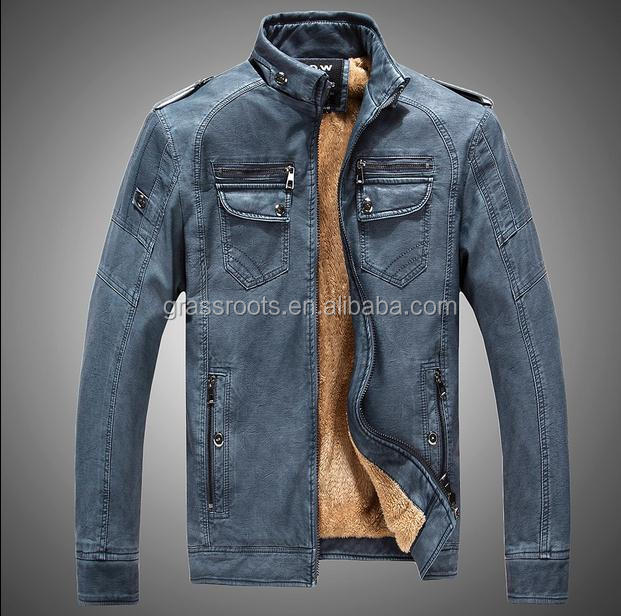 Winter young men 's leather plus velvet high - grade retro to do the old leather jacket collar